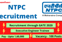 NTPC recruitment details, post,through GATE 2020 pay scale and vacancies details.