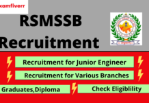RSMSSB recruitment banner, Graduates, diploma, Junior engineer