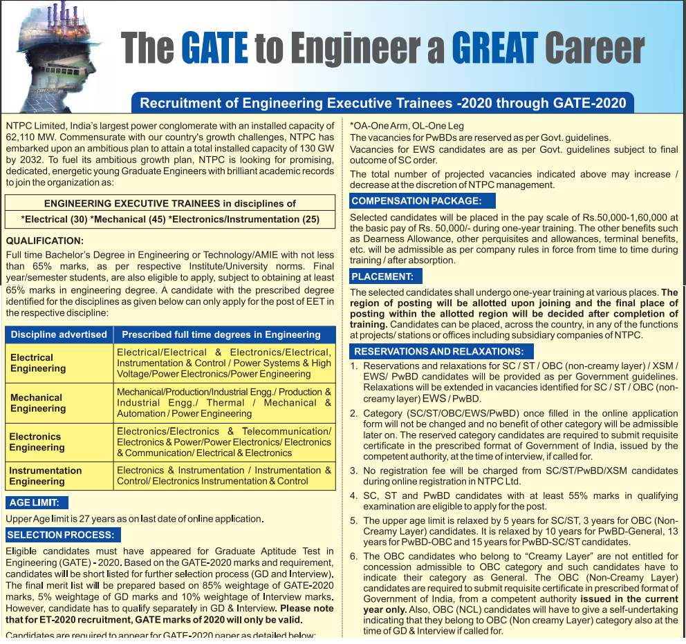 NTPC notification for recruitment image containing details of recruitment.