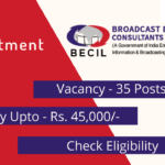 BECIL recruitment 2020 banner. details like vacancy pay included