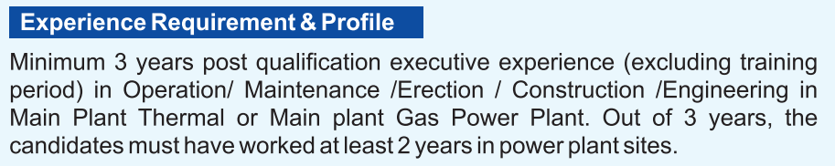 NTPC experience requirement for Engineers