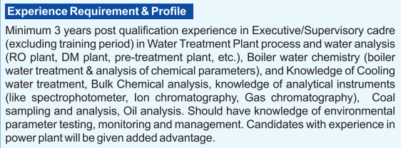 NTPC experience requirement for Assistant Chemists