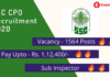 SSC CPO recruitment banner. 1564 vacancy, Rs 1,12,400 pay, Sub inspector post