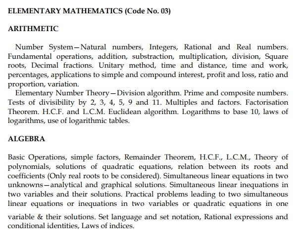 UPSC CDS Maths syllabus
