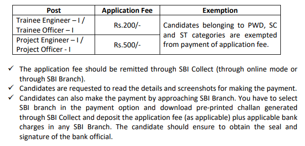 BEL Application fee details