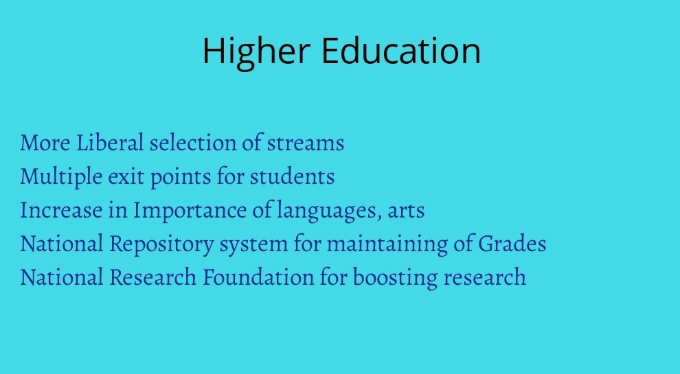 Higher education changes in NEP