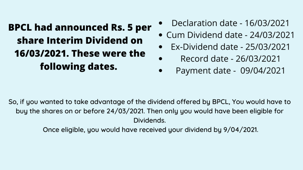 Dividend dates example using BPCL stock explained